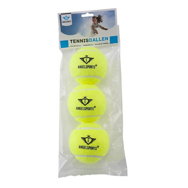 Angel Sports 3 Tennisballen in Zak