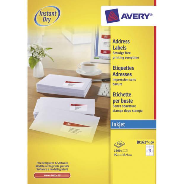 Inkjetetiket Avery 99,1x33,9mm wit 100 vel 16 etiketten per vel
