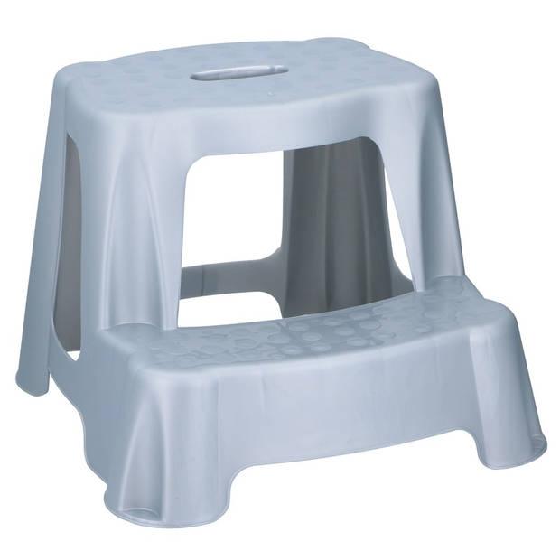 Grijs kinderkrukje/opstapje met 2 treden 35 cm - Keuken/badkamer krukjes/opstapjes voor kinderen