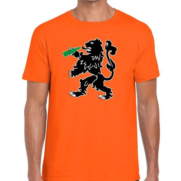 Oranje t-shirt bier drinkende leeuw voor heren - Koningsdag / EK-WK kleding shirts L