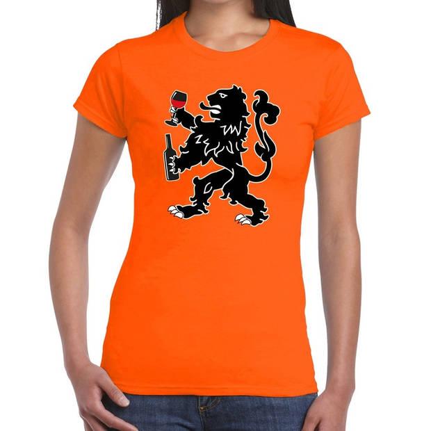 Oranje t-shirt wijn drinkende leeuw voor dames - Koningsdag / EK-WK kleding shirts M