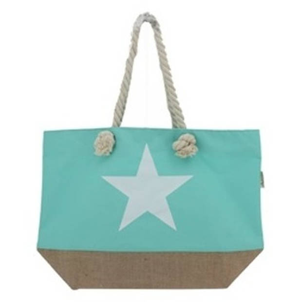 Mint groene strandtas met witte ster 55 cm - Strandtassen/schoudertassen mintgroen - Shopper/zomer tassen