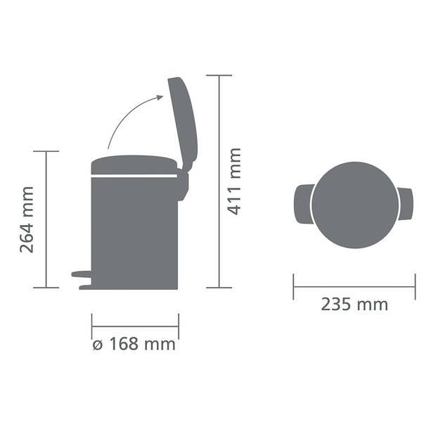 Brabantia newIcon pedaalemmer 3 liter met kunststof binnenemmer - Mineral Concrete Grey