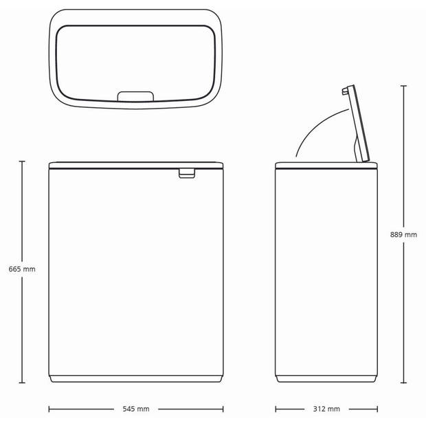 Brabantia Bo Touch Bin afvalemmer 2 x 30 liter met 2 kunststof binnenemmers - Matt Black