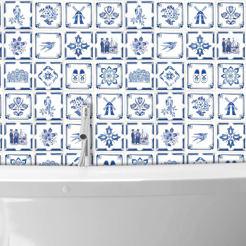 Zitzak Delfts Blauw.Walplus Delfts Blauw Muursticker Tegelsticker 15x15 Cm 24