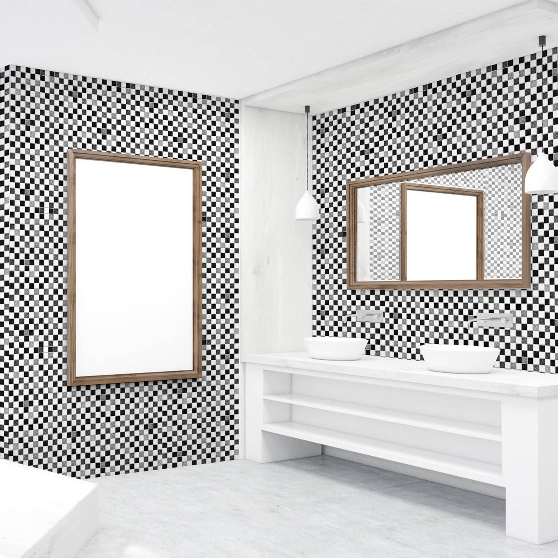 Walplus Zwart/Wit Mozaiek - Muursticker/Tegelsticker - 20x20 cm - 12 stuks