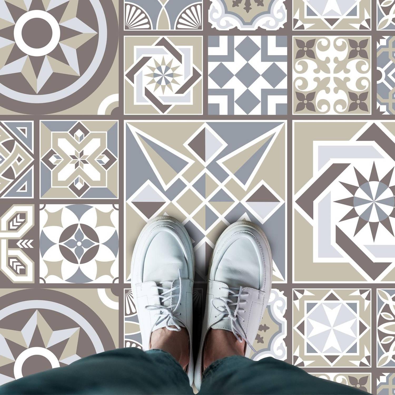 Walplus Spaans Kalksteen Melange - Home Decoratie Sticker - Vloersticker/wandsticker - 120x60 Cm