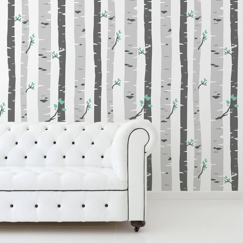 Walplus Berkenbomen - Muur Decoratie Sticker - Grijs - 4 Bladen Van 60x90 Cm