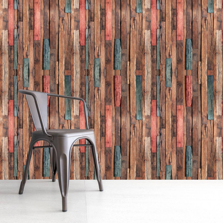 Walplus Houtstroken - Muur Decoratie Sticker - Multikleur - 4 Bladen Van 60x90 Cm