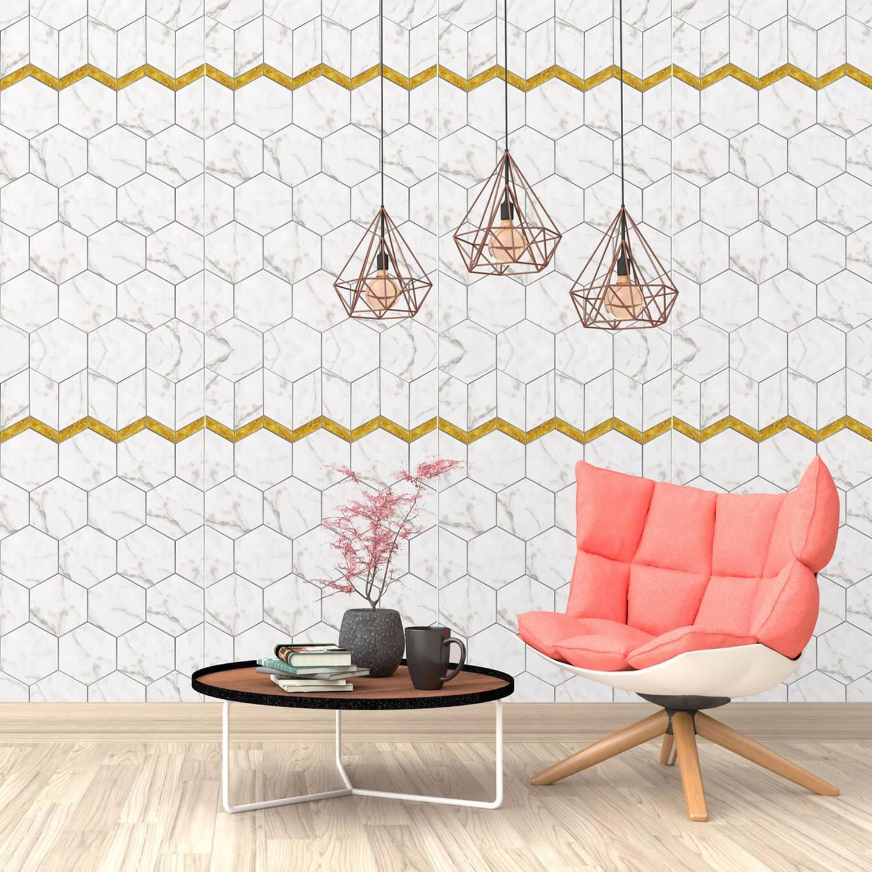 Walplus Hexagon Met Marmer Effect - Muur Decoratie Sticker - Met Gouden Randje - 4 Bladen Van 60x90