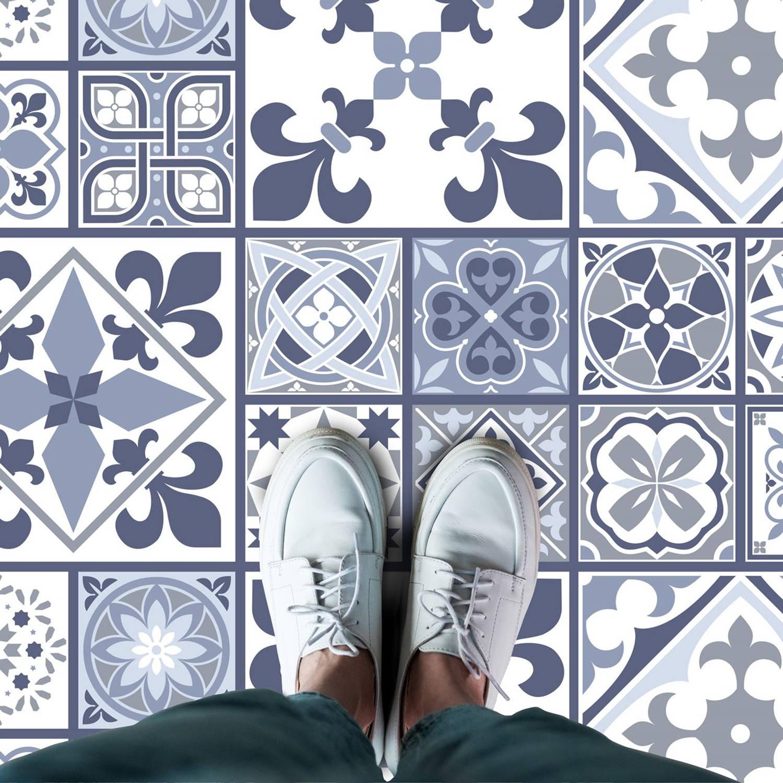 Walplus Lisbon Melange - Home Decoratie Sticker - Vloersticker/Wandsticker - Blauw - 120x60 cm
