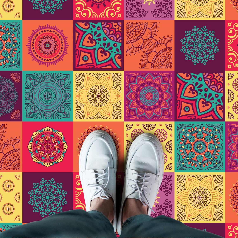 Walplus Kleurrijke Mandala - Home Decoratie Sticker - Vloersticker/wandsticker - 120x60 Cm