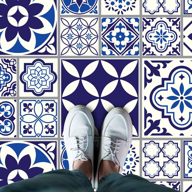 Walplus Spaans En Marokkaans Melange - Home Decoratie Sticker - Vloersticker/wandsticker - Blauw - 1