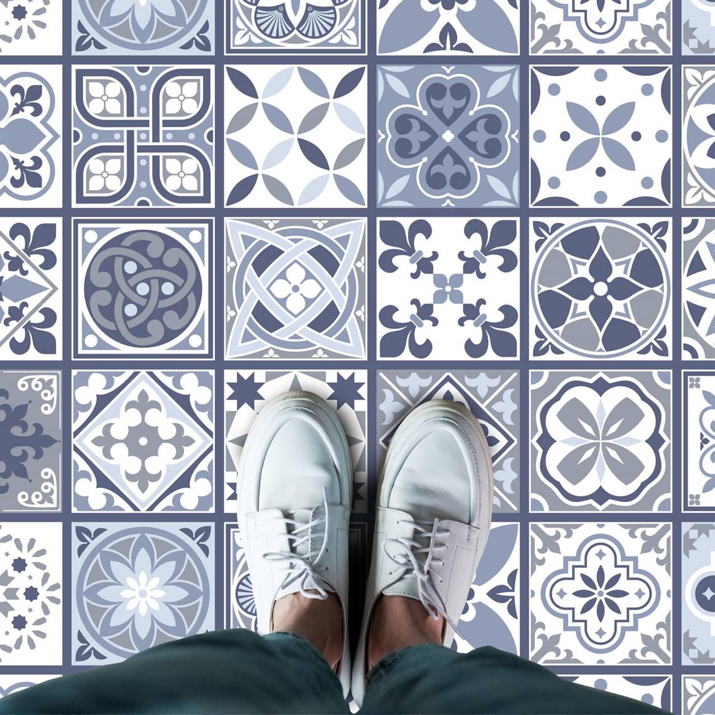 Walplus Lisbon - Home Decoratie Sticker - Vloersticker/Wandsticker - Blauw - 120x60 cm