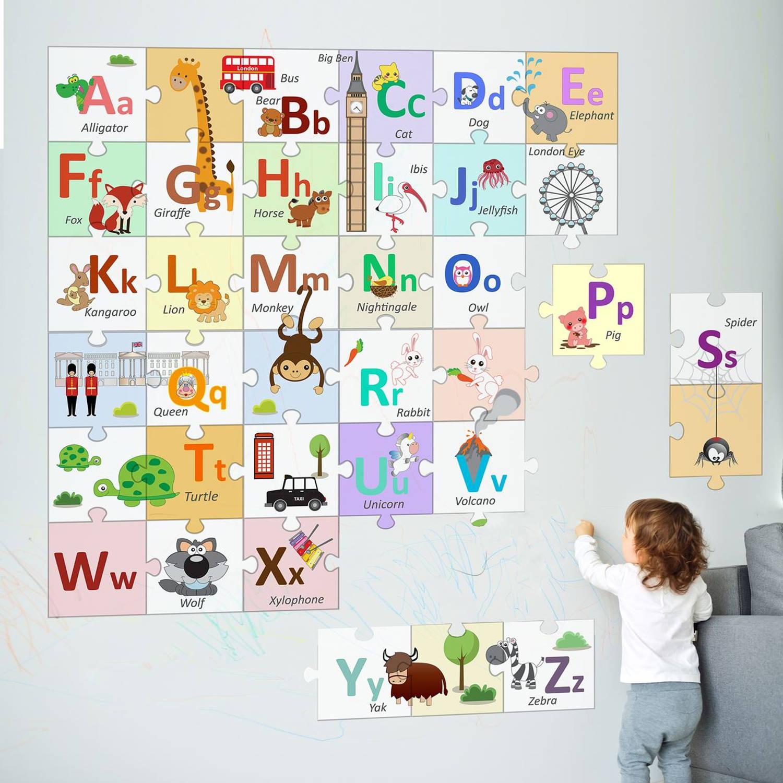 Walplus Londen Alfabet - Kids Decoratie Sticker - Puzzel Van Het Alfabet - 20x20 Cm - 36 Stuks