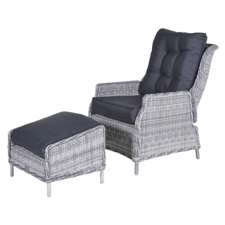Veracruz Relaxstoel Met Voetenbank Cloudy Grey 5 Mm Reflex Black