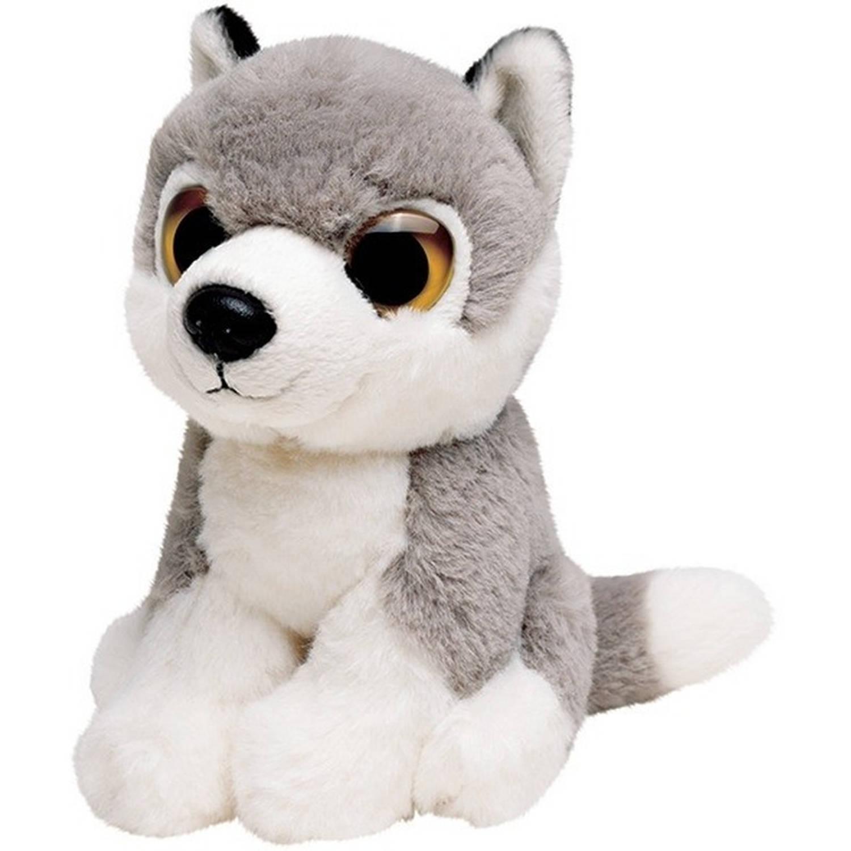 aa8f4d1fb8663a Pluche grijze wolf knuffel 13 cm - Wolven wilde dieren knuffels - Speelgoed  voor kinderen