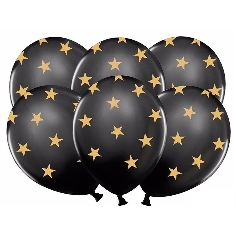 Merkloos Zwarte Ballonnen Met Gouden Sterren 6 St- Kerst / Oud En Nieuw Versiering online kopen