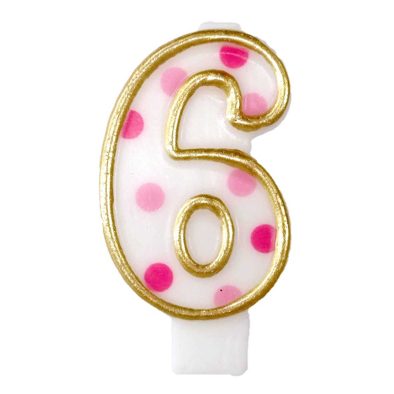 Korting Haza Original Verjaardagskaars Cijfer 6 Goud roze 6 Cm