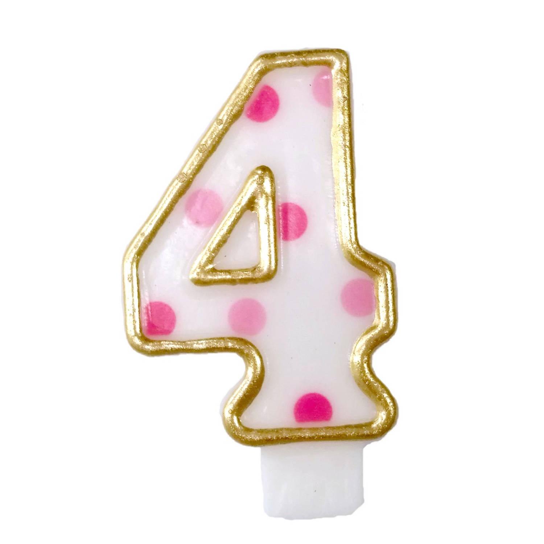 Korting Haza Original Verjaardagskaars Cijfer 4 Goud roze 6 Cm