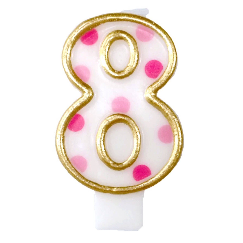 Korting Haza Original Verjaardagskaars Cijfer 8 Goud roze 6 Cm