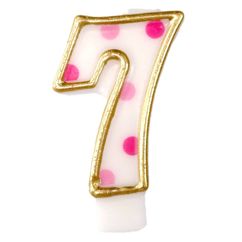 Korting Haza Original Verjaardagskaars Cijfer 7 Goud roze 6 Cm