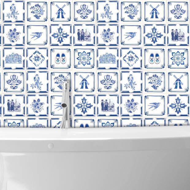 Walplus Delfts Blauw - Muursticker/Tegelsticker - 15x15 cm - 24 stuks