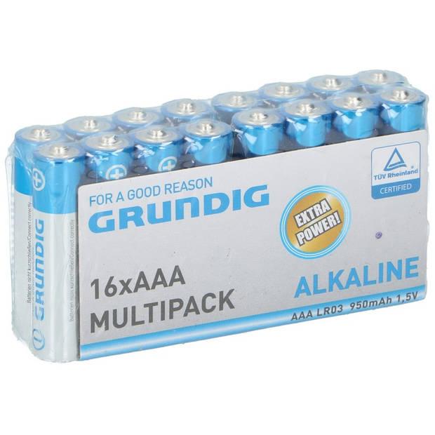 16x Grundig AAA batterijen alkaline 1.5 volt - Voordeelpak
