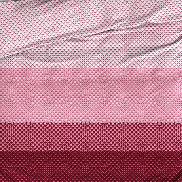 Satin d'Or Ibisco dekbedovertrek - 100% katoen-satijn - Lits-jumeaux (270x200/220 cm + 2 slopen) - Bordeaux/Rose