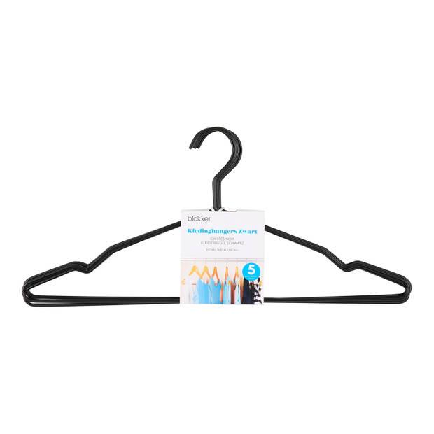 Blokker kledinghanger metaal, set van 5 stuks, zwart