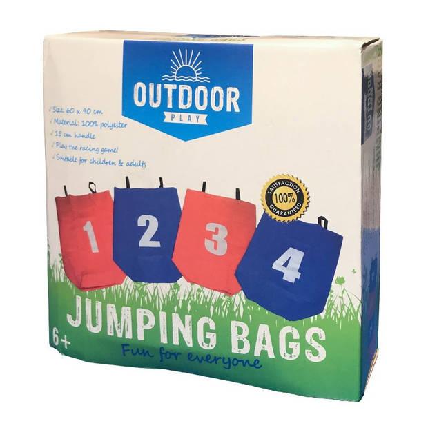 Outdoor Play loopzakken 4 stuks rood/blauw 90 cm