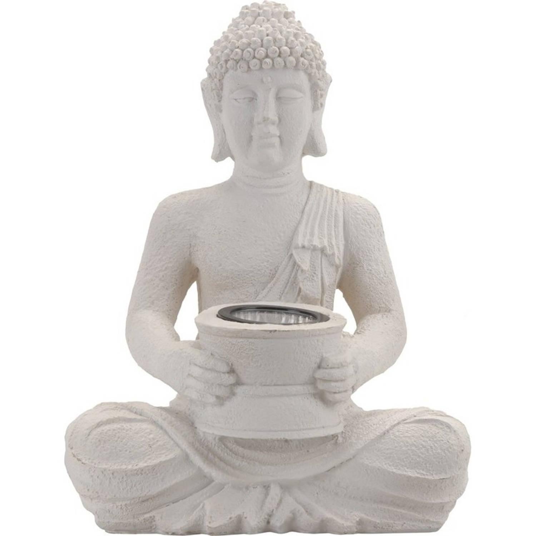 Witte Solar Boeddha Beeld Tuinverlichting 31 Cm Solarverlichting tuinverlichting In Beelden