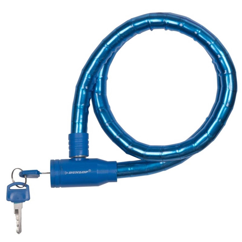 Dunlop Kabelslot Blauw Met Plastic Coating 80 Cm Fietsslot Voor Motor-scooter-brommer-fiets