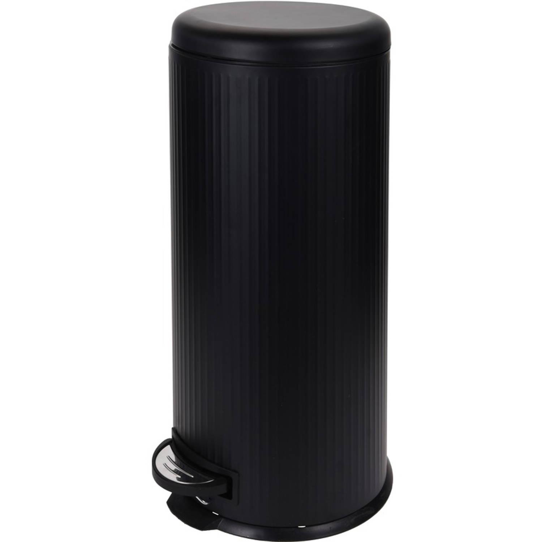 Zwarte Vuilnisbak/pedaalemmer 30 Liter - Vuilnisemmers/vuilnisbakken/pedaalemmers/prullenbakken