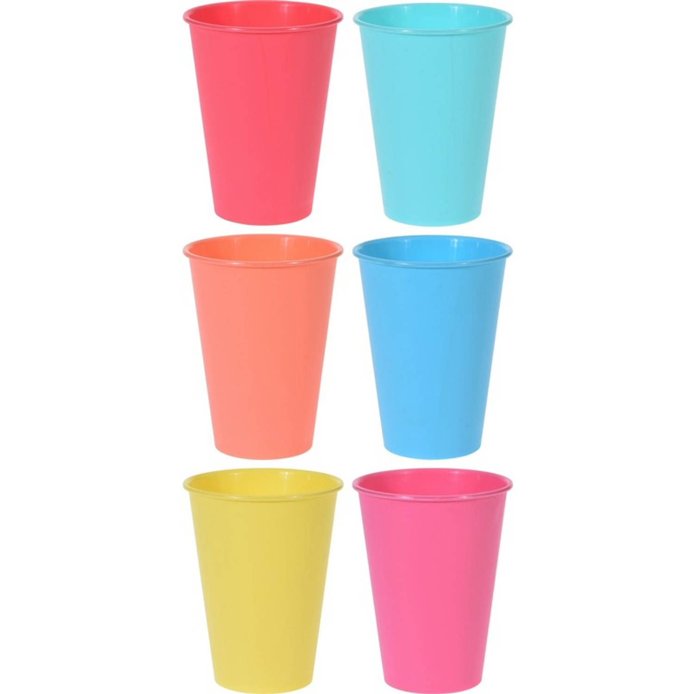 Korting 6x Gekleurde Drinkbeker mok Kunststof 12 Cm Campingservies picknickservies