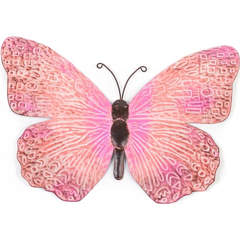 Metalen Vlinder Roze Zwart 39 Cm Tuin Decoratie Schutting Tuindecoratie Vlinders Dierenbeelden Blokker