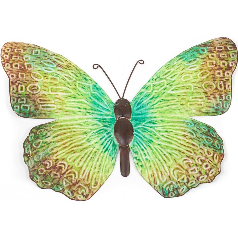 Metalen Vlinder Groen Zwart 39 Cm Tuin Decoratie Schutting Tuindecoratie Vlinders Dierenbeelden Blokker
