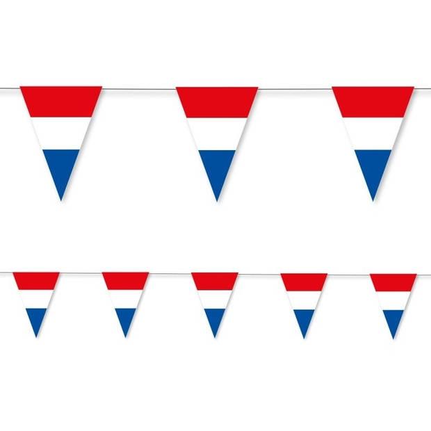 Holland rood wit blauw vlaggenlijn papier 3,5 meter - Holland/ Koningsdag thema versiering