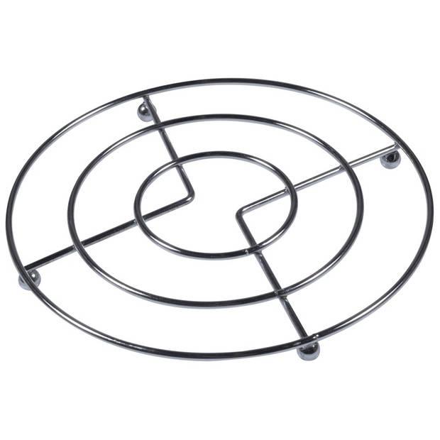 1x Pannen onderzetter chroom 17 cm - Metalen onderzetters voor pannen