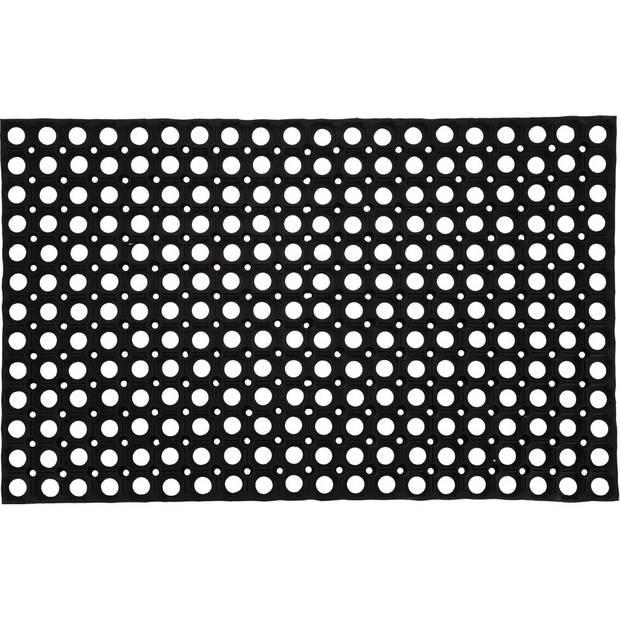 Grote rubberen deurmat/buitenmat 50 x 80 cm - Deurmatten/buitenmatten/schoonloopmatten rubber