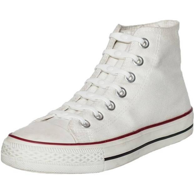 14x Shoeps elastische veters wit - Sneakers/gympen/sportschoenen elastieken veters - Hulp bij veters strikken