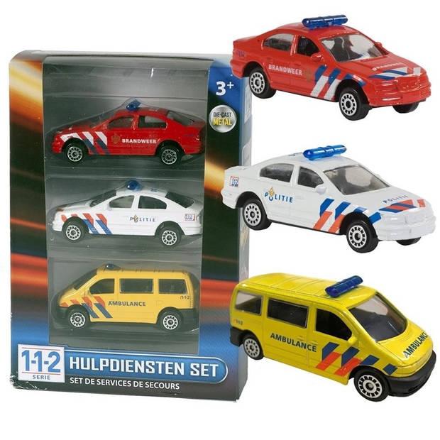 Nederlandse politie/brandweer/ambulance speelgoedauto set 7,5 cm - Speelgoed auto's voor kinderen/jongens