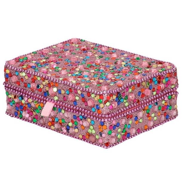 Roze roze sieradenkistje met glitters 8 x 10 cm - Juwelenkistje/sieradendoosje met spiegel