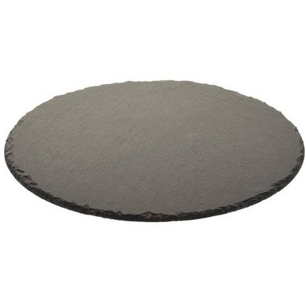Rond zwarte leisteen kaarsenplateau/kaarsenbord 30 cm - onderbord / kaarsenbord / onderzet bord voor kaarsen