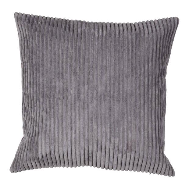 Blokker kussenhoes rib - grijs - 45x45 cm