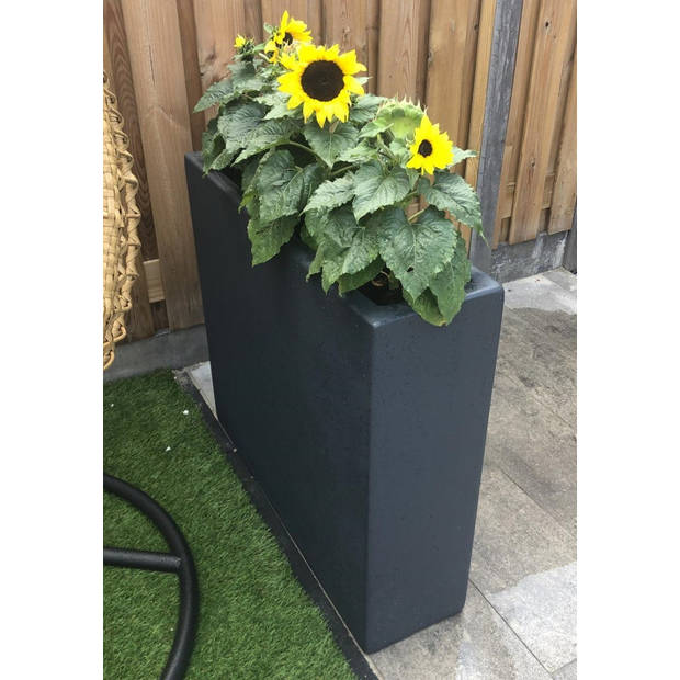 Enjoyplanters Enjoyplanter Polyester plantenbak Velvet 90x25x80 cm Antraciet-zwart