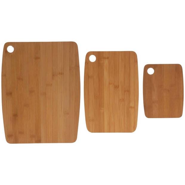 3x Bamboe houten snijplanken - Snijplanken/serveerplanken/broodplanken van hout