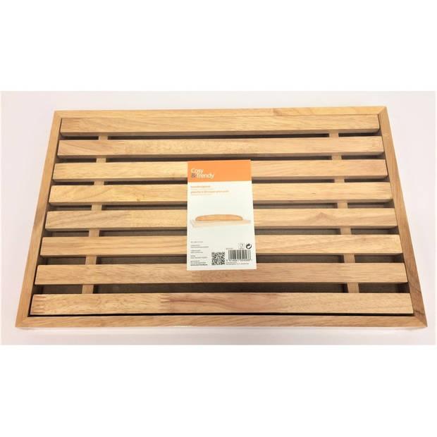 Brood snijplank met kruimel opvangbak 44 cm - Broodplanken/broodsnijplanken keuken accessoires