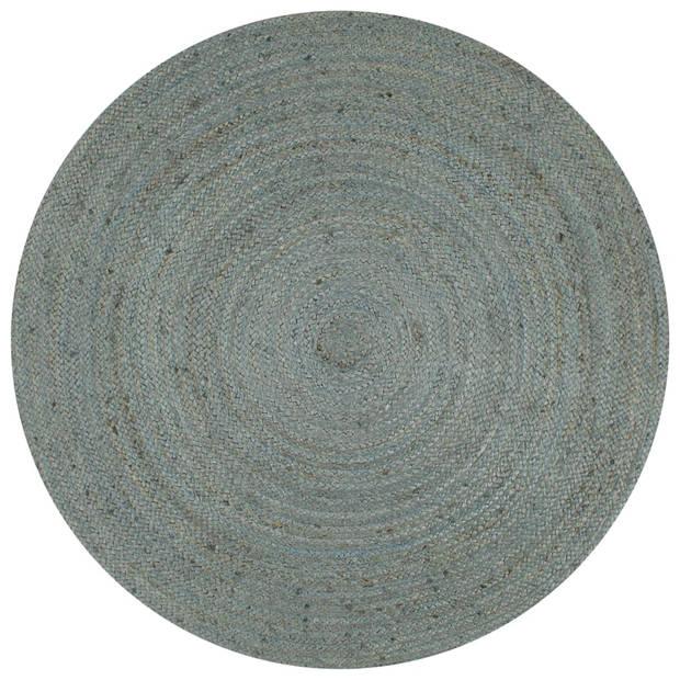 vidaXL Vloerkleed handgemaakt rond 90 cm jute olijfgroen