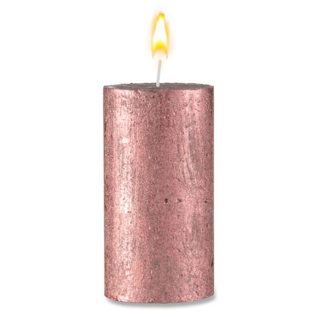 Blokker rustieke cilinderkaars - 6,8 x 13 cm - rood metallic